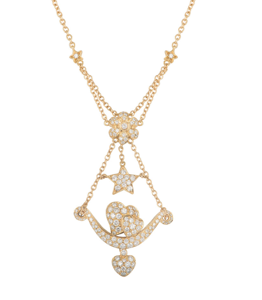 Bespoke Yellow Gold Diamond Heart, Flower and Star Necklace