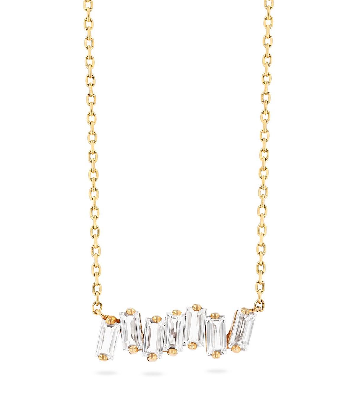 Suzanne Kalan 14K Yellow Gold White Topaz Baguette Bar Necklace