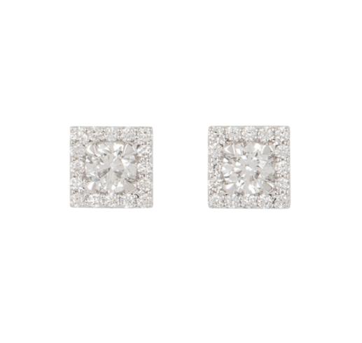 Bespoke White Gold Diamond Cluster Set Earrings