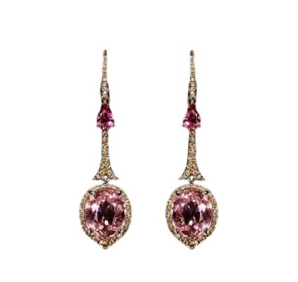Annoushka Diamond & Pink Tourmaline Drop Earrings