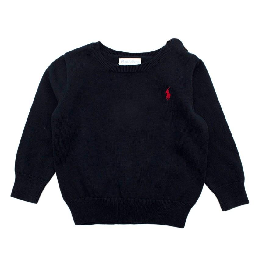 Ralph Lauren Navy Cotton Baby 18m Knit Jumper