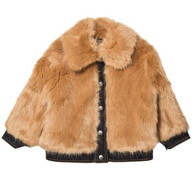 Stella McCartney Kids Camel Faux Fur Jacket with Denim