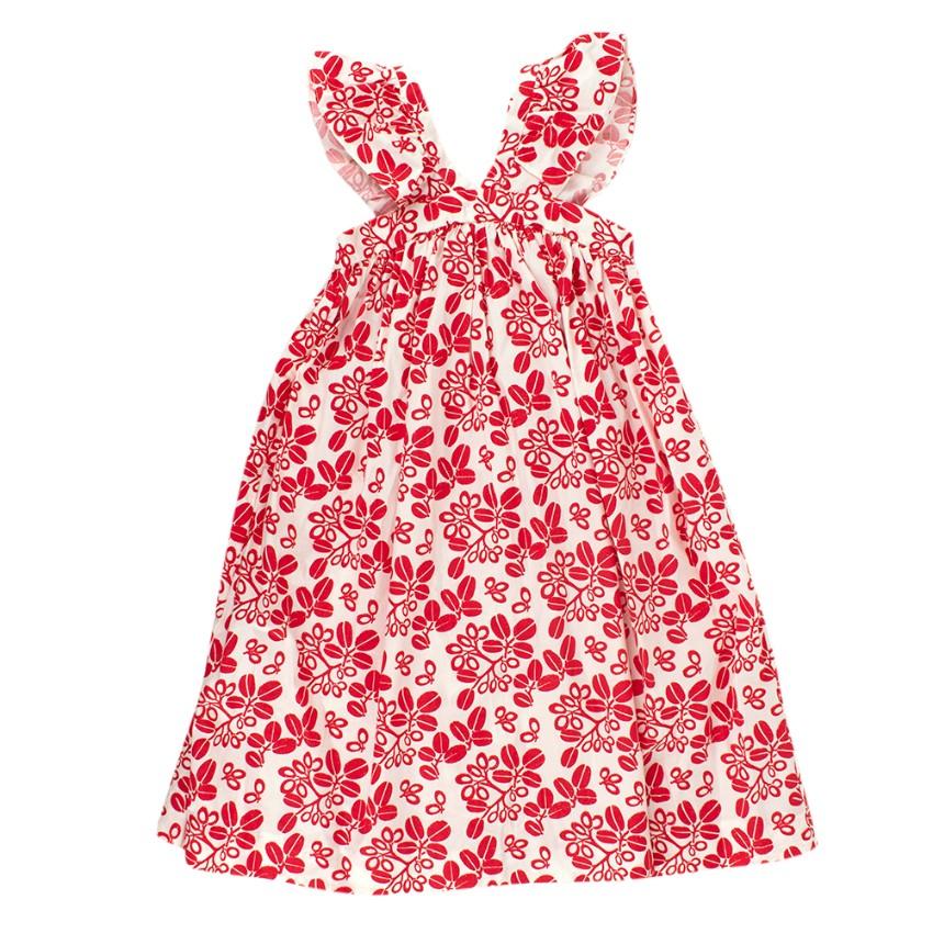 Bonpoint Kids 3Y Red & White Pattern Ruffle Maxi Dress