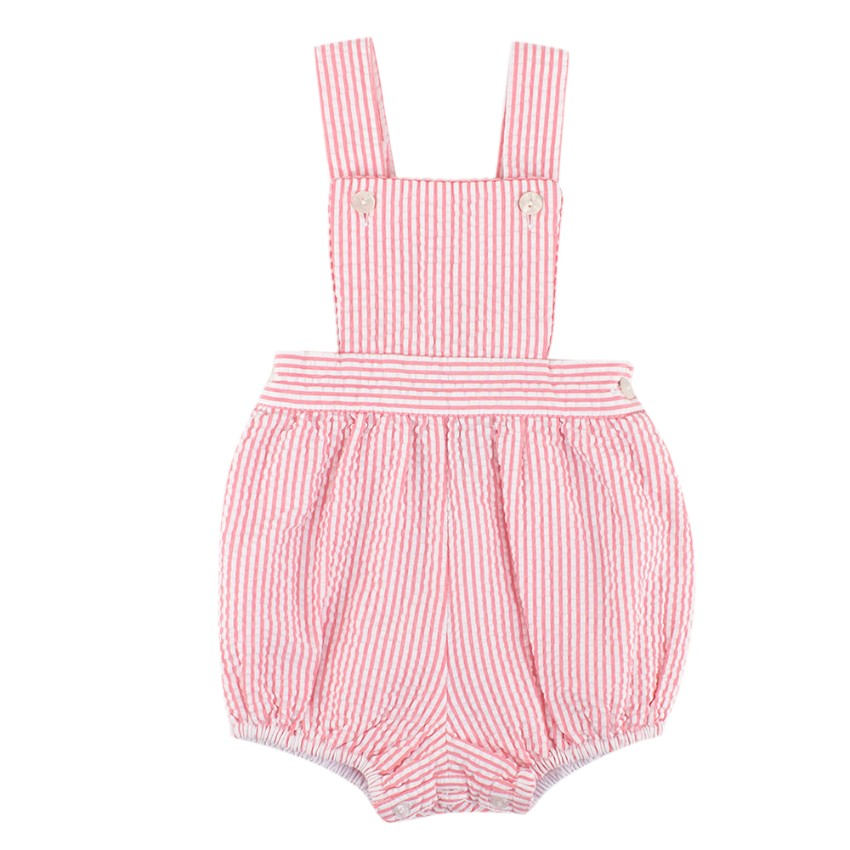 Oscar de la Renta Baby Pink & White Striped Cotton Dungarees