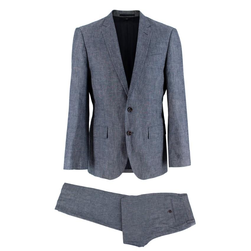 J. Crew Blue/Grey Cotton Slim-fit 2-Piece Suit