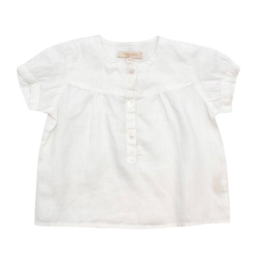 Ovale Baby Girls White Linen Short-Sleeve Shirt
