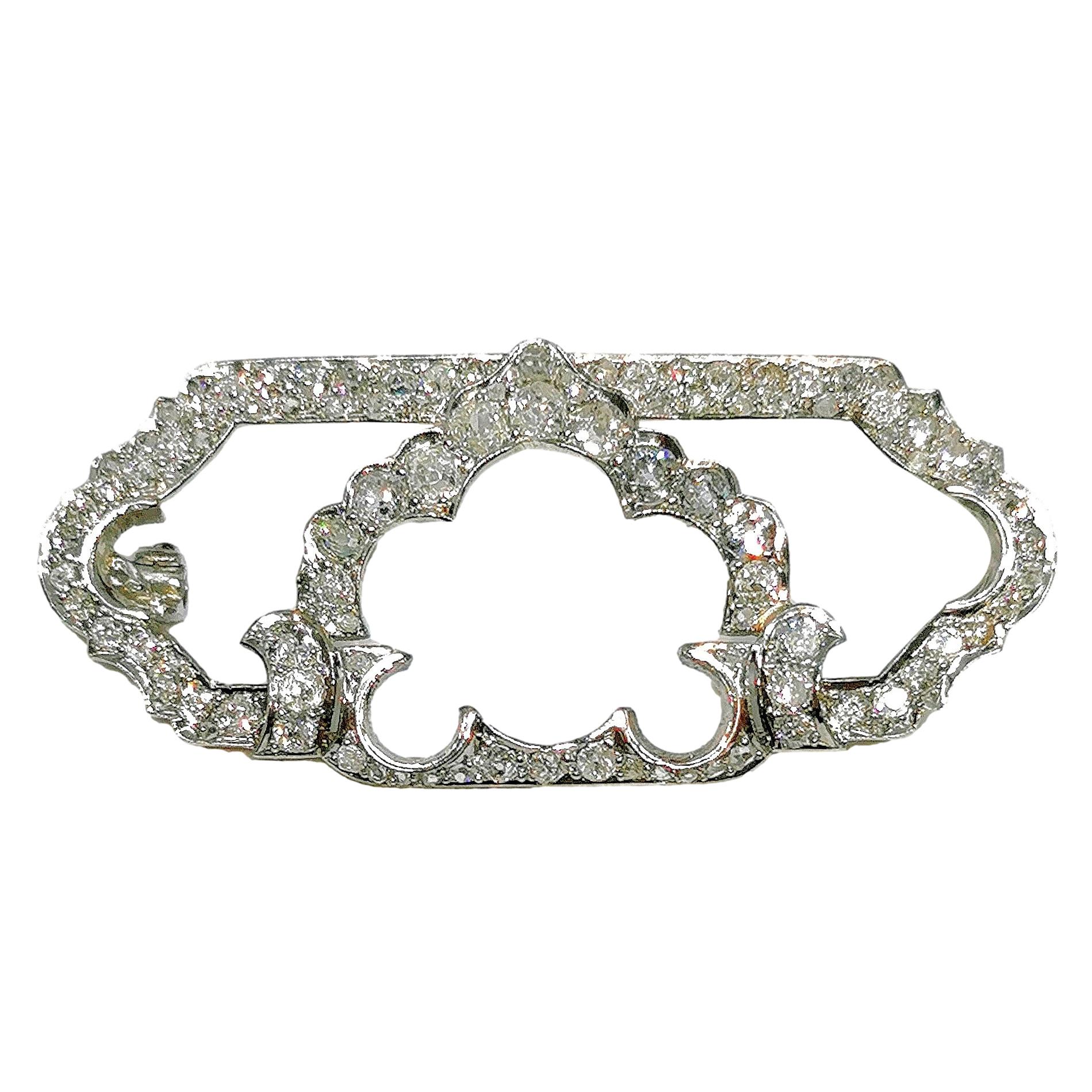 Bespoke diamond and platinum art deco brooch 1915-1920