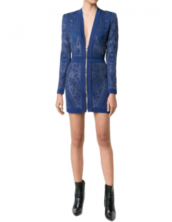 Balmain Blue Floral Stretch Knit Zip Front Dress