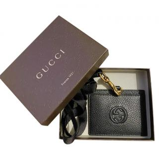 Gucci Black Grained Leather GG Card Holder/Lanyard
