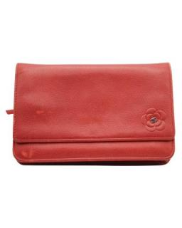 Chanel Red Camellia Detail Leather Wallet On Chain