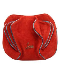 Christian Louboutin Leather Trimmed Red Suede Apple Crossbody Bag