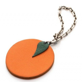 Herm�s Orange Chain Bag Fruit Key Charm