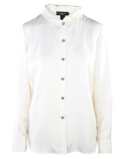 Shanghai Tang White Silk Blouse