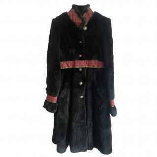 Galliano Black Embroidered Rabbit Fur Coat