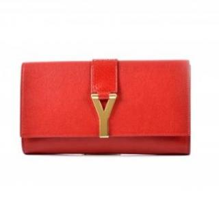 Saint Laurent Red Leather Ligne Clutch