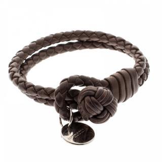 Bottega Veneta Brown Intrecciato Leather Double Strand Bracelet