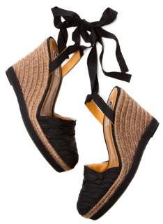 Lanvin Black Espadrille Wedge Sandals