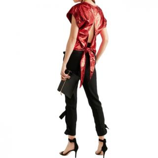 Isabel Marant Red Open-back metallic leather top