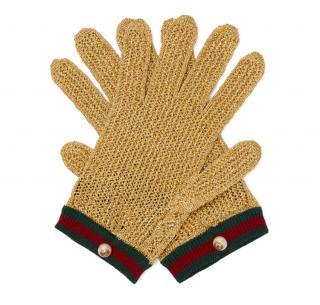 Gucci metallic gold web striped crochet gloves