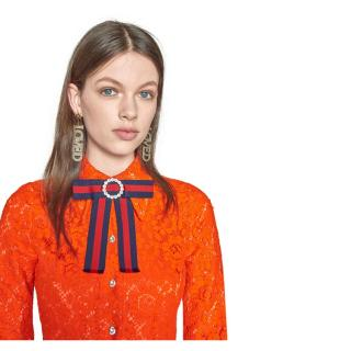 Gucci Crystal-embellished striped grosgrain pussy-bow collar neck tie