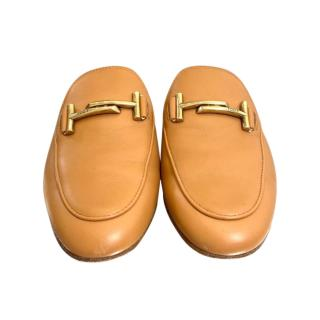 Tod's Camel Double T Leather Slides