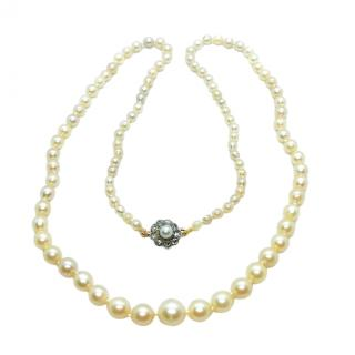Bespoke Antique Pearl Necklace with Diamond Clasp