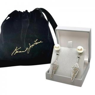 Kenneth Jay Lane Crystal Drop Faux Pearl Earrings
