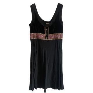 Galliano Black Satin Embroidered Dress