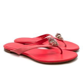 Alexander McQueen Coral Leather Crystal Embellished Skull Sandals