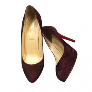 Christian Louboutin Burgundy Suede Pumps