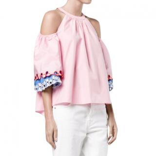 Peter Pilotto embroidered cold shoulder blouse