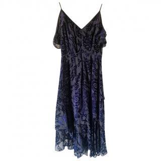 Peter Pilotto Velvet Devore Cold Shoulder Dress
