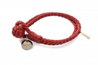 Bottega Veneta Red Intrecciato Leather Double Cord Bracelet