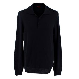 Barena Navy Knit Wool Polo Jumper