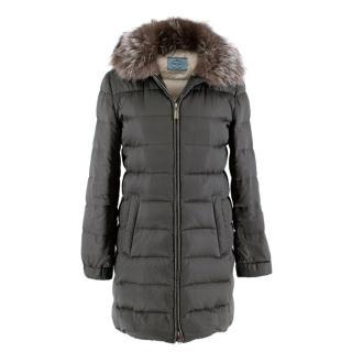 Prada Silver/Grey Nylon Puffer Coat with Fox Fur Collar