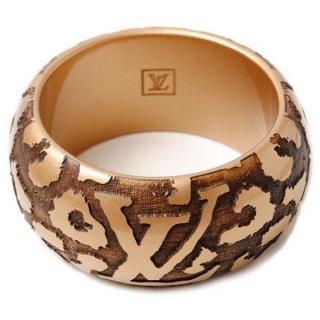 Louis Vuitton Gold Lacquer Wood Leomonogram Bracelet