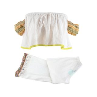 Chio Di Stefania D White Embroidered Two Piece Beachwear Set