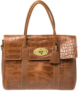 Mulberry Brown Croc Embossed Leather Bayswater Bag