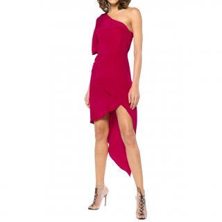 Haney Marta one-shoulder asymmetric silk crepe de chine Dress