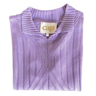 Cap Lilac Ribbed Knit Short Sleeve Polo