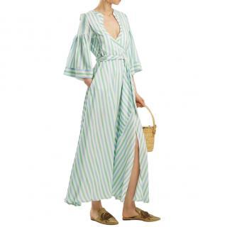 Thierry Colson Green Sultane Silk Midi Dress