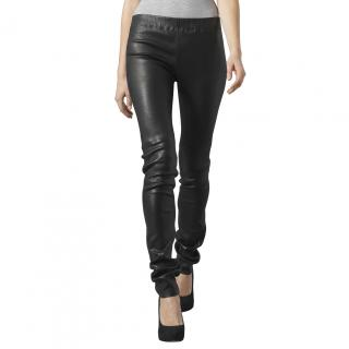 Joseph Black Zipper Detail Leather Leggings