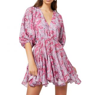 Elliatt Pink Marble Print Belted Anguilla Dress
