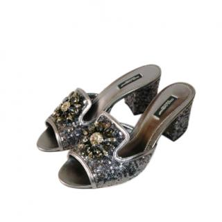 Dolce & Gabbana Petwer Tone Crystal Bianca Mules