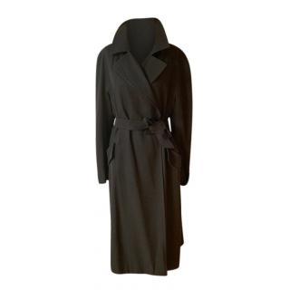 Max Mara Black Wool Lightweight Wrap Coat
