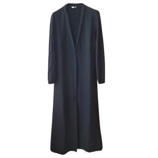 Manrico Cashmere Black Cable Knit Longline Open Cardigan