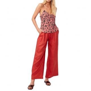 Suboo Red Linen Rising Sun Wide Leg Trousers