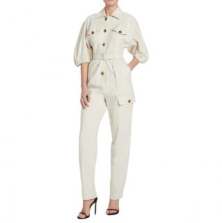 Divine Heritage Ivory Button-Up Belted Jumpsuit