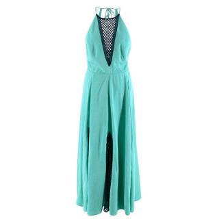 A Mere Co Green Linen Halter Neck Midi Dress