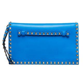 Valentino Blue Nappa Leather Rockstud Clutch